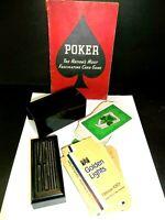 Vtg Kem Bakelite Playing Card Holder Case 1941 Poker Rule Book Golden Lights Cig