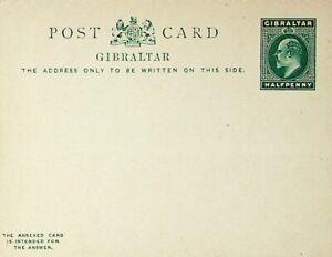 GIBRALTAR HALF PENNY KING EDWARD UNUSED POSTAL STATIONERY CARD