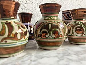 6, SPANISH, SIGNED, Handcrafted Studio Pottery Iridescent Metallic Copper Brown