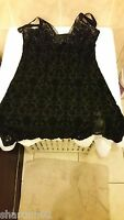 Ann Summers Baroque Flock Black Chemise Size 16 New With Tags In Packet