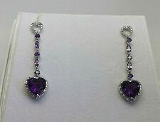 9ct White Gold Amethyst & Diamond Heart Drop Earrings.  Goldmine Jewellers.