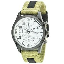 Chaxigo Men's Military Style Army Green Canvas Denim Strap Watch 9913 (White)