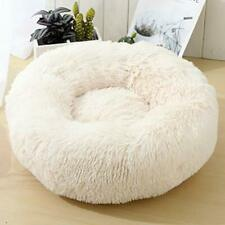 New listing Toneed Soft Calming Donut Dog Cat Bed in Fluffy Fur Puppy Sleeping Pet Beddin.