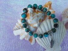 feather charm stretch bracelet Dyed Imperial Jasper with