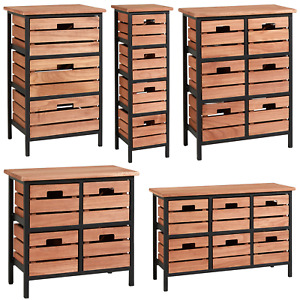 Solid Wood Chest of Drawers Storage Unit Bedroom Office Organiser Metal Frame