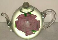 Tea Pot Paperweight by Dynasty Gallery  Pink Rose Flower Heirloom Collectibles