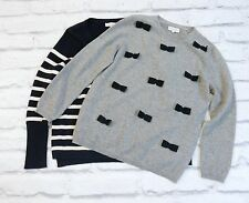 2 CUTE: Chinti & Parker Bow Trim & Striped Cashmere Jumpers Sweaters £650 M/UK12