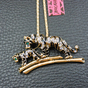 Betsey Johnson Fashion Enamel Crystal Cute Tiger Pendant Sweater Chain Necklace