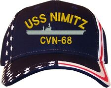 USS Nimitz CVN-68 Embroidered Stars & Stripes Baseball Cap Hat  Navy