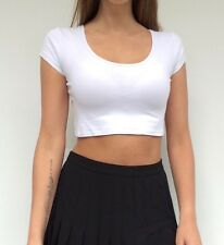 Supre ladies white short sleeve casual summer crop top, size small