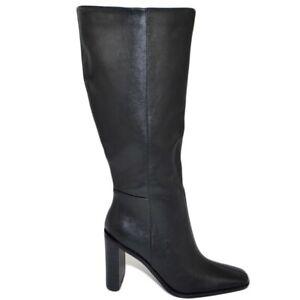 Stivali donna a punta quadrata nero liscio gambale aderente al ginocchio tacco l