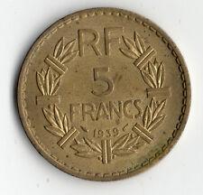 PAS COURANTE MONNAIE DE 5 FRANCS LAVRILLIER BRONZE ALU DE 1939 @ PETIT PRIX !!