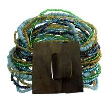 Turquoise Blue Brown Green Bali Bracelet Glass Beads Wood Buckle Costume Jewelry