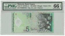 Malaysia RM5 Zeti Low Serial Number Last Prefix PMG66 EPQ Polymer Banknote