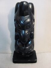 Hand Carved Black Soapstone Totem Raven Steals The Light Inuit Eskimo Legend