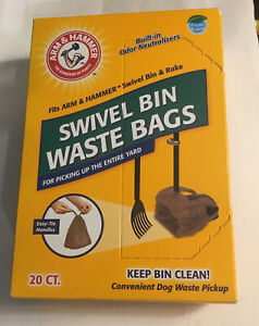Swivel Bin Dog Waste Bags Pet Poop Clean Pick up Less Odor Cleaning Arm & Hammer