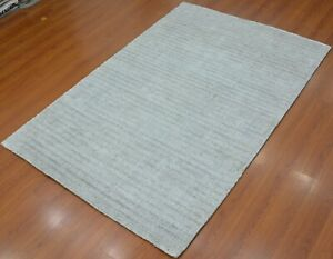 5'6 x 8' Rug Modern rug Hand Tufted Gray Wool & polyester Area rug
