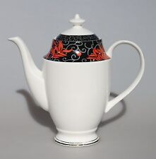 Bone China Coffee/Tea Pot 1.53L (54 OZ) Black and Red and White Dishwasher Safe