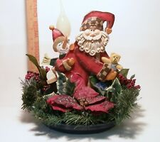 Santa Claus with Snowman, Bear, Pointsettias, Berries Handcrafted Battery Light
