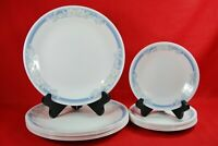 Corelle JASMINE Dinner & Bread Plates 14 Pieces White Floral Blue Band