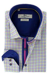 Men's Check Shirt Long Sleeve Multi Coloured Cotton Size XXL CLAUDIO LUGLI