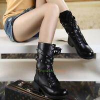 Vintage Women Combat Style Army Worker Military Ankle Boots Flat Punk Goth Shoes