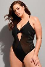ASHLEY GRAHAM® 12 Black & Gold Mesh Ritzy Swimsuit NWT $120