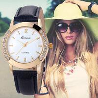 Nuevo Moda Mujer Pulsera De Cuero Reloj De Mujer Cristal Estrás Relojes pulsera