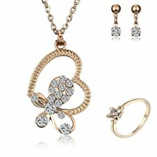 Gold Plated Crystal Butterfly Heart Ring Earrings Necklace Set Women Jewelry New
