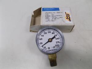 """ASHCROFT 2"""" BRASS PRESSURE GAUGE 0/300 PSI"""