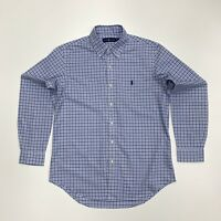 Ralph Lauren Men's Check Plaid Cotton Twill Shirt In Blue/White