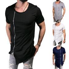 Mens Hip Hop Long Extended T-Shirt Zipper Side Asymmetrical Shirt Summer Tops