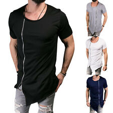 Herren Hip Hop Long Extended T-Shirt Tee Zipper Side Asymmetrical Sommer 2018