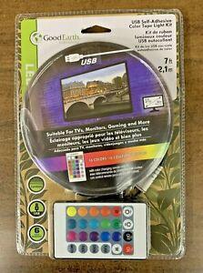 Good earth LED USB Self-Adheisive Color Tape Light Kit AC1213-BKG-07LF2-G - NEW