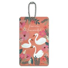 I am Calm I am Mindful Swans Flowers Luggage Card Suitcase Carry-On ID Tag