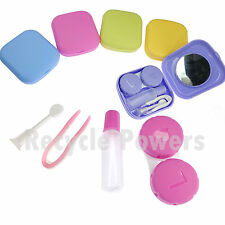 Pocket Travel Contact Lens Case Kit Bottle tweezer Mirror Container Holder LOT