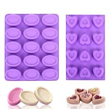 2pcs Purple Oval Heart Shaped Silicone Soap Mold Baking Mould & 100 Sealed Bags