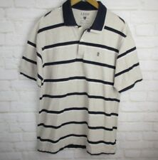 Izod mens size Large Short Sleeve Ivory Striped Polo Shirt