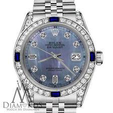 Rolex 26mm Datejust Tahitian MOP Dial Sapphire & 8+2 Diamond RT Watch