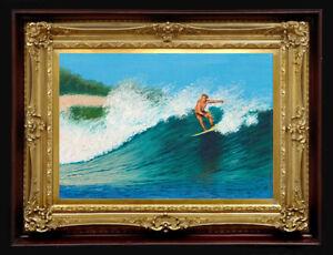 "ORIGINAL Oil Painting Handmade Arseni ~ SURFING 12"" X 8"" NO FRAME Artist 1Art"