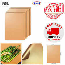 BBQ Grill Mat Set of 5 Bake NonStick Grilling PFOA-Free Infused with real copper