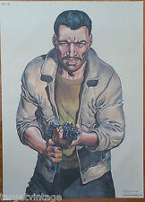 Vintage Police Cible De Tir Gangster Affiche 1995 Bande Dessinée Artiste Malik
