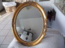 Luxus Wandspiegel Retro Bad Flur Dekoration Gold 59 x 49cm Oval Holz Barock Stil