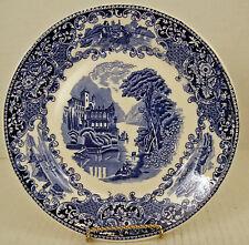Petrus 9 3/8 Plate Blue White Castillo Regout Co. c1879 Villa Fiord Scene Sphinx