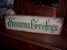 SEASONS GREETINGS    Christmas wood sign primitive