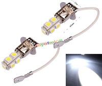 2x H3 9 LED SMD Car Auto Xenon White Fog Driving Head Light Lamp Bulb DC 12V