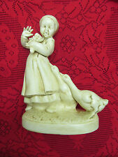 RARE VINTAGE CERAMIC HOLLAND MOLD GIRL W/ GEESE FIGURINE IVORY ANTIQUED FINISH