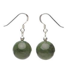 Ohrringe Ohrhänger aus echtem Jade, 925 Silber, grün dunkelgrün Ohrschmuck Damen