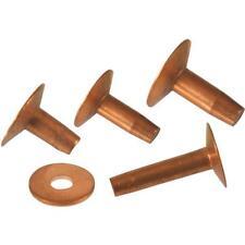 """6 Pk Hillman Solid Copper Assorted 3/8"""" 1/2"""" 5/8"""" 3/4"""" Long Rivets & Burrs 8006"""