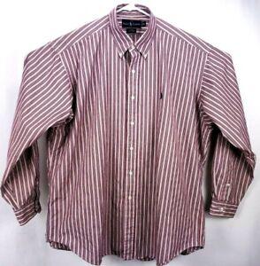 Ralph Lauren Men's Shirt XLarge L/S Button Down Red/White/Blue Striped Blake